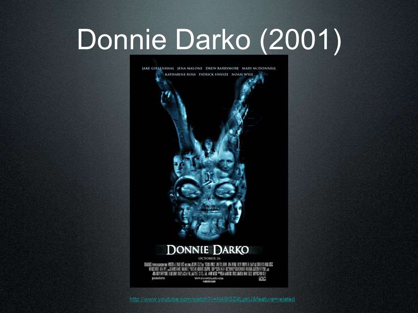 Donnie Darko (2001) http://www.youtube.com/watch v=N49ISZ4LpkU&feature=related
