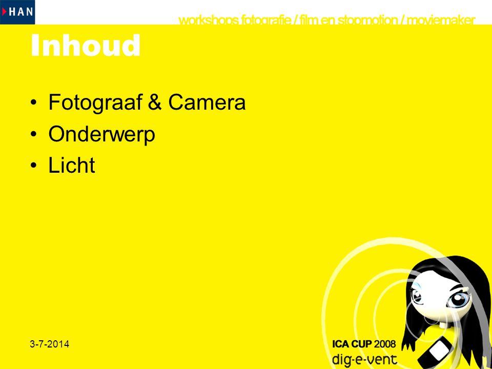 Inhoud Fotograaf & Camera Onderwerp Licht 3-4-2017