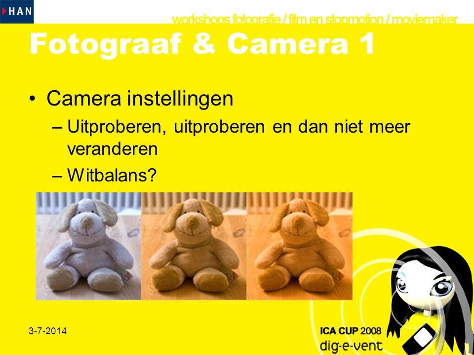 Fotograaf & Camera 1 Camera instellingen