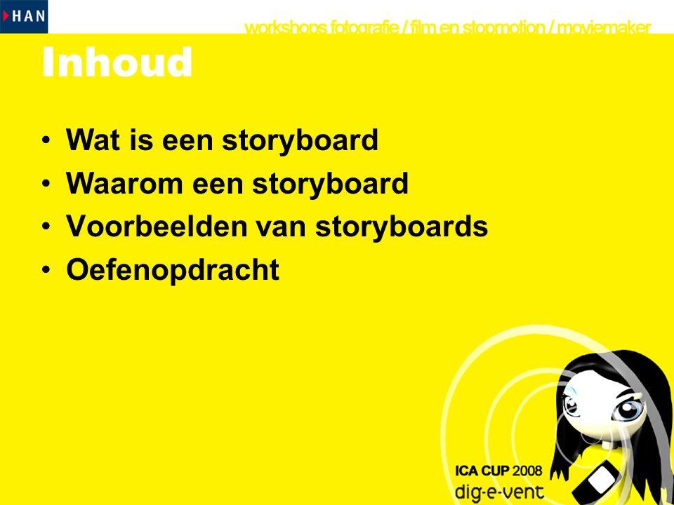 Inhoud Wat is een storyboard Waarom een storyboard