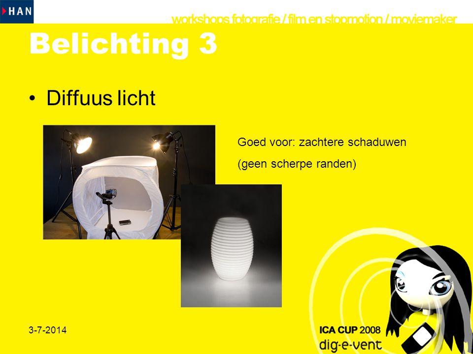 Belichting 3 Diffuus licht Goed voor: zachtere schaduwen