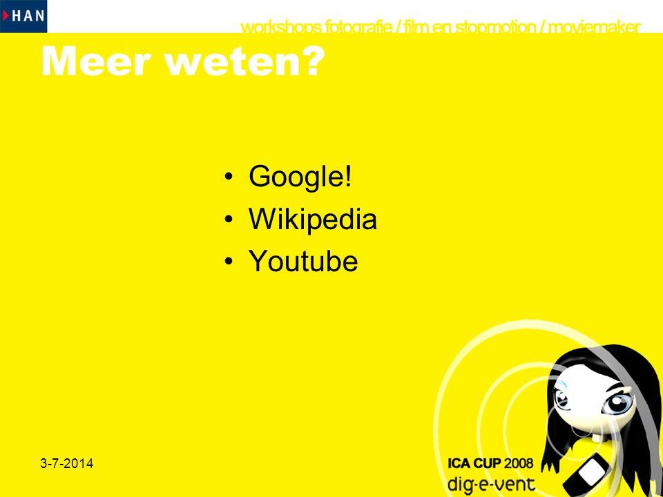 Meer weten Google! Wikipedia Youtube 3-4-2017