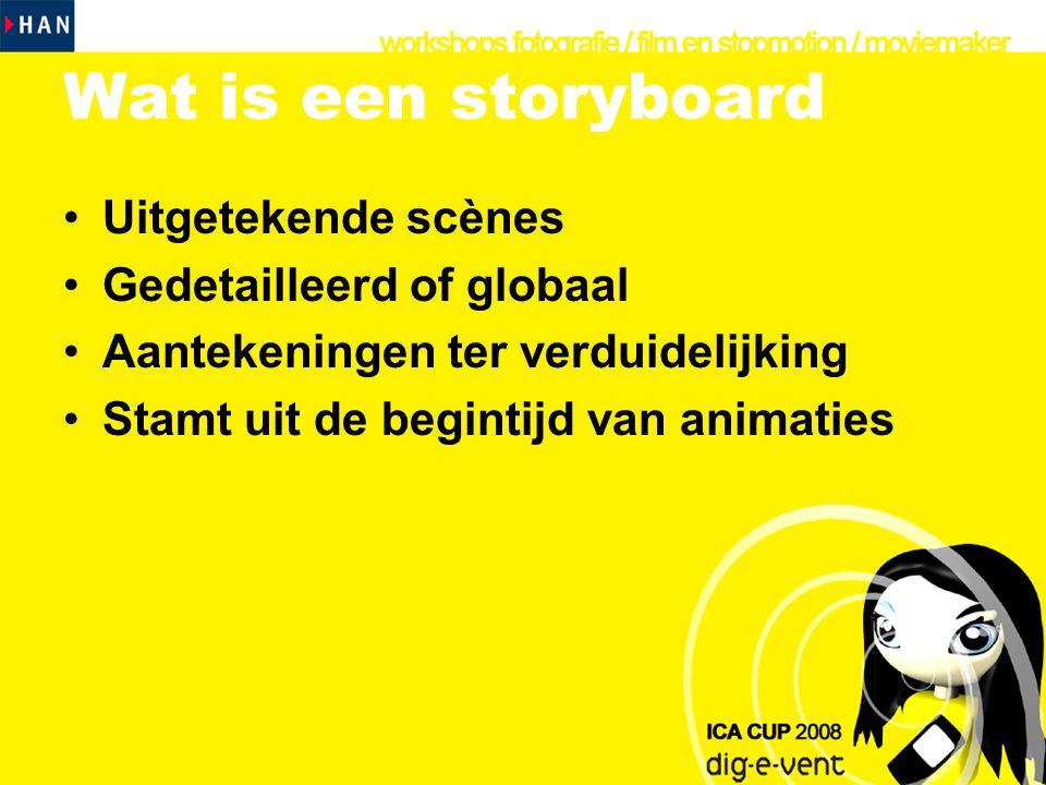 Wat is een storyboard Uitgetekende scènes Gedetailleerd of globaal
