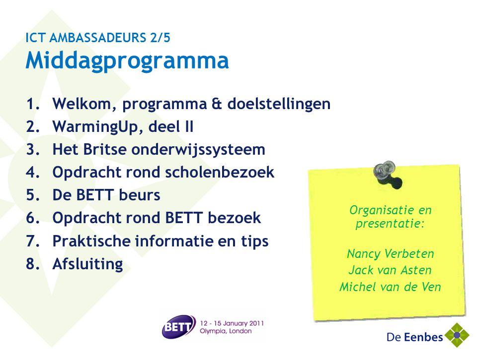 ICT AMBASSADEURS 2/5 Middagprogramma