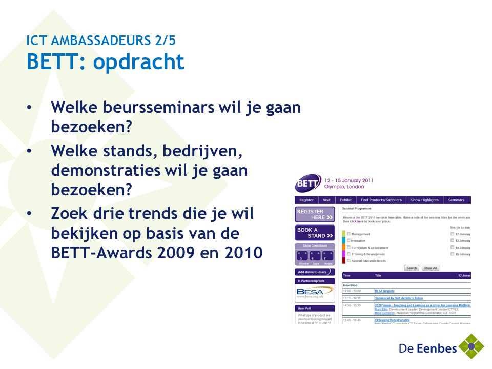ICT AMBASSADEURS 2/5 BETT: opdracht