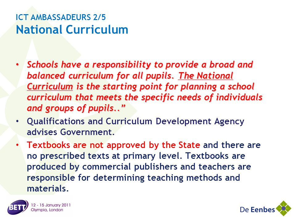 ICT AMBASSADEURS 2/5 National Curriculum
