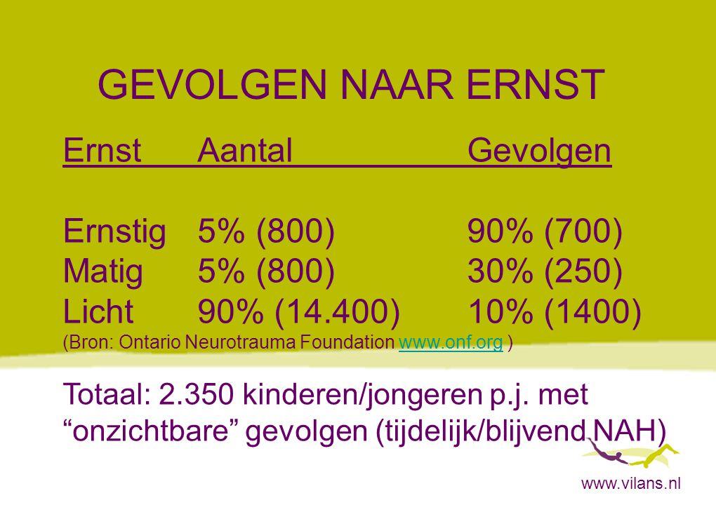 GEVOLGEN NAAR ERNST Ernst Aantal Gevolgen Ernstig 5% (800) 90% (700)