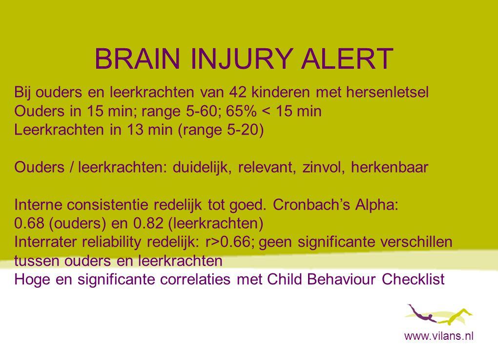 BRAIN INJURY ALERT Bij ouders en leerkrachten van 42 kinderen met hersenletsel. Ouders in 15 min; range 5-60; 65% < 15 min.