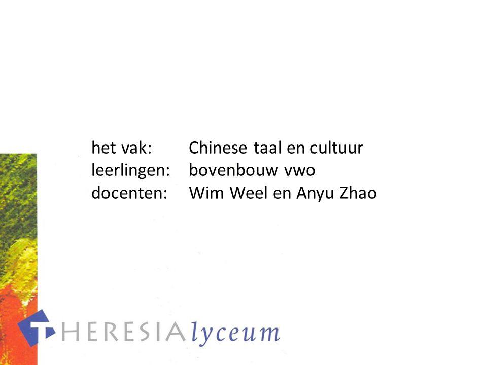 het vak: Chinese taal en cultuur