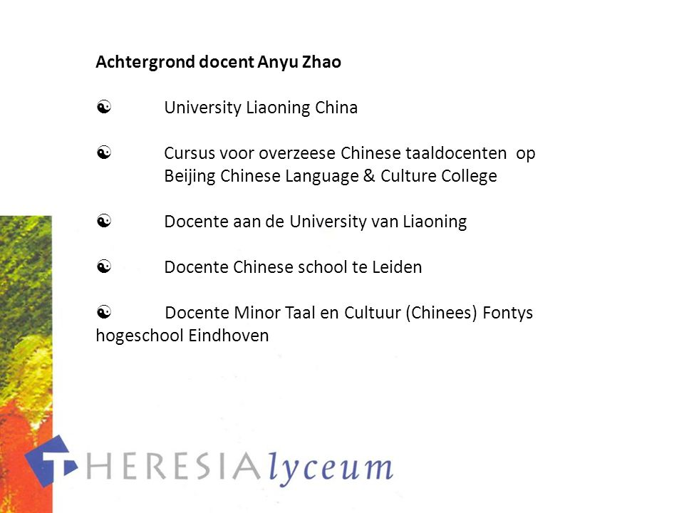 Achtergrond docent Anyu Zhao