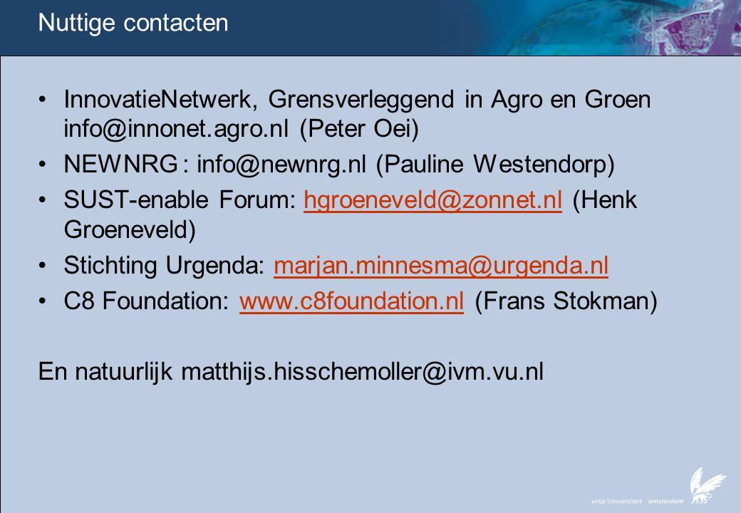 Nuttige contacten InnovatieNetwerk, Grensverleggend in Agro en Groen info@innonet.agro.nl (Peter Oei)