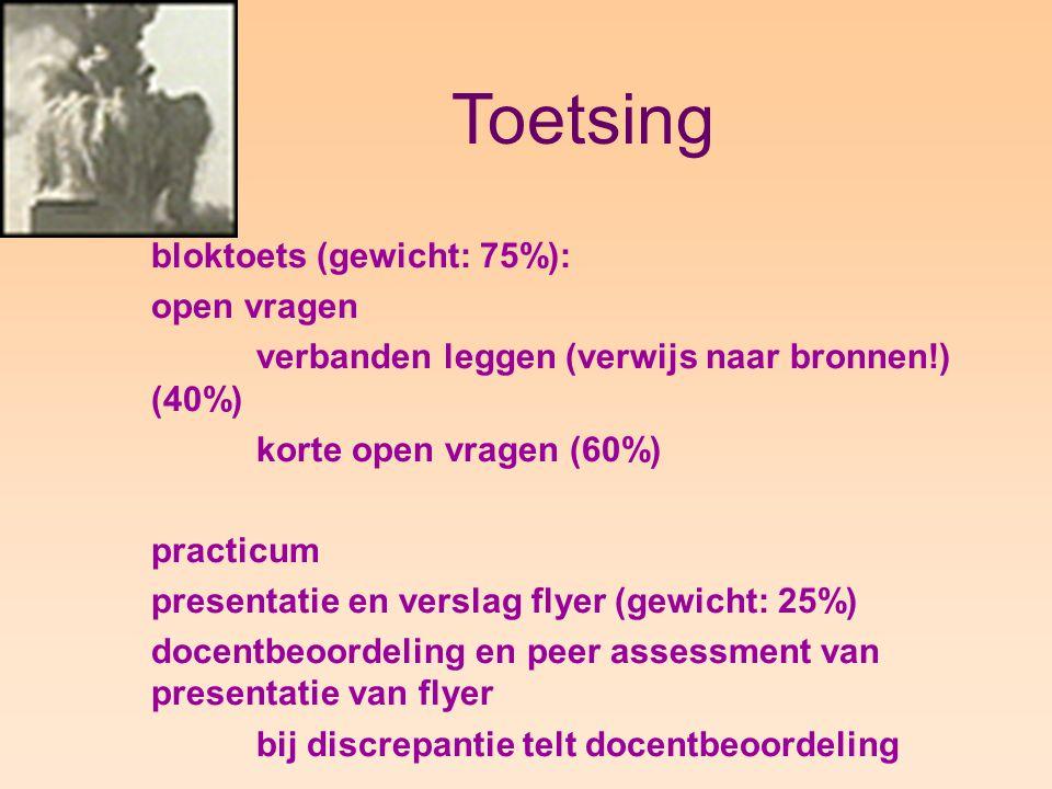 Toetsing bloktoets (gewicht: 75%): open vragen