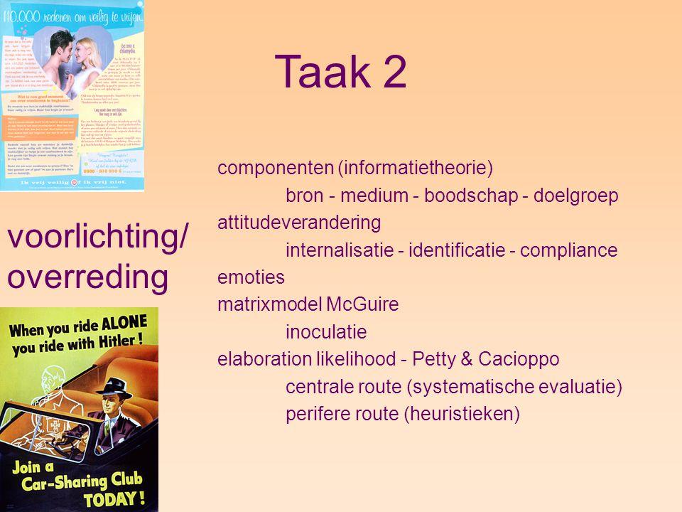 Taak 2 voorlichting/ overreding componenten (informatietheorie)