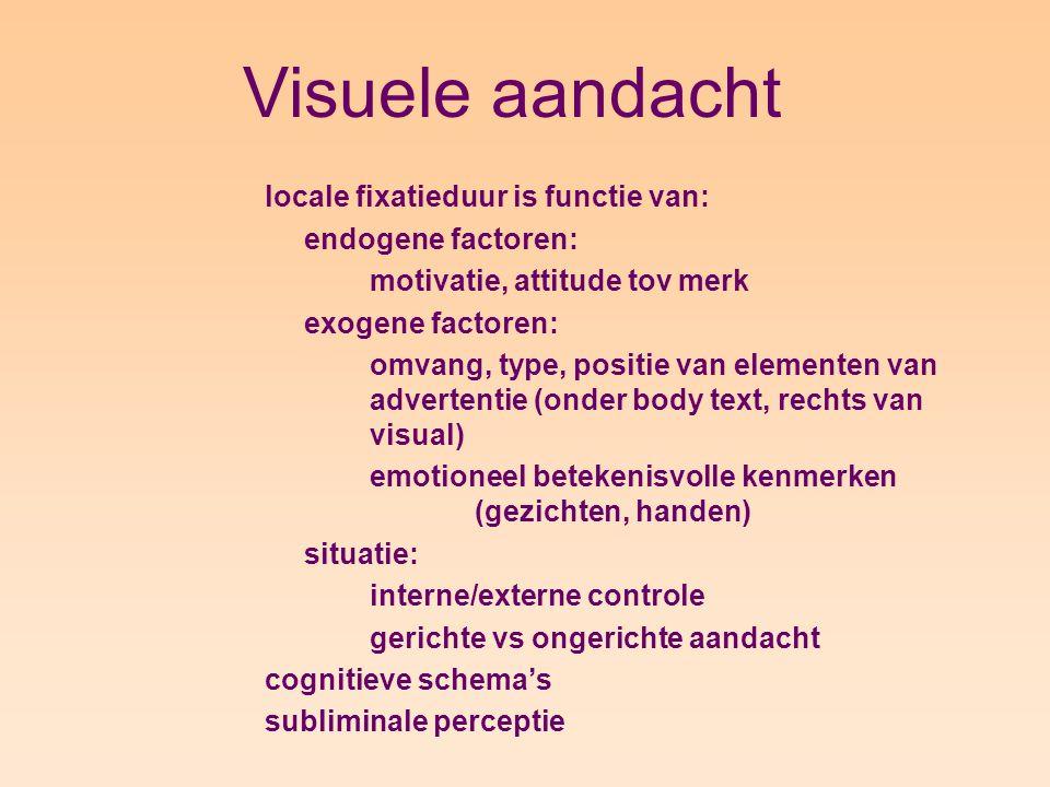 Visuele aandacht locale fixatieduur is functie van: endogene factoren: