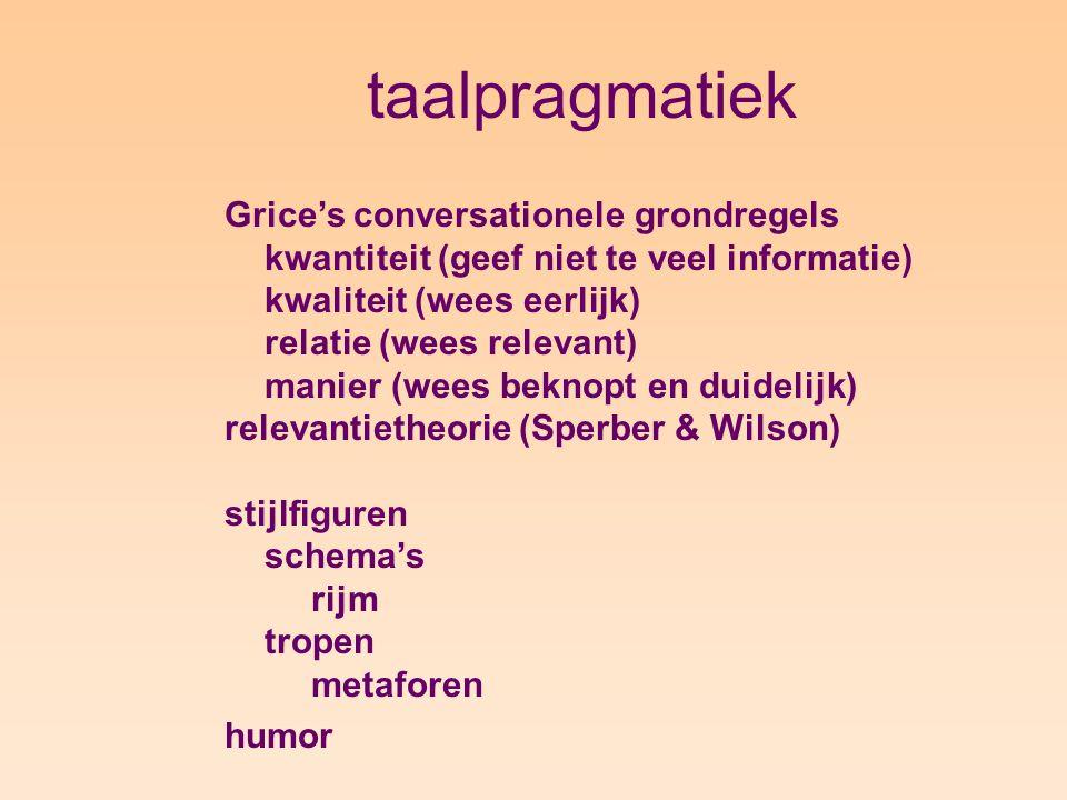 taalpragmatiek Grice's conversationele grondregels