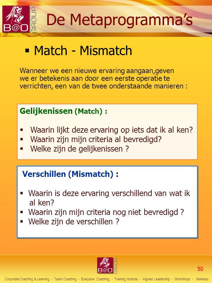 Match - Mismatch Verschillen (Mismatch) : De Metaprogramma's