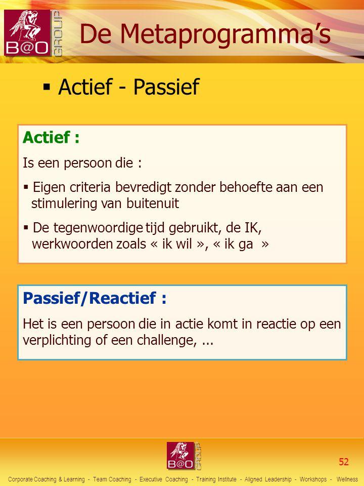 Actief - Passief Actief : Passief/Reactief : De Metaprogramma's