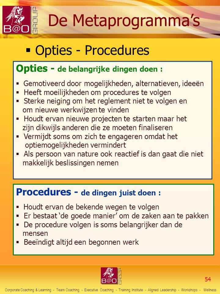 Opties - Procedures Opties - de belangrijke dingen doen :