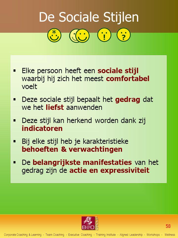 De Sociale Stijlen Elke persoon heeft een sociale stijl waarbij hij zich het meest comfortabel voelt.