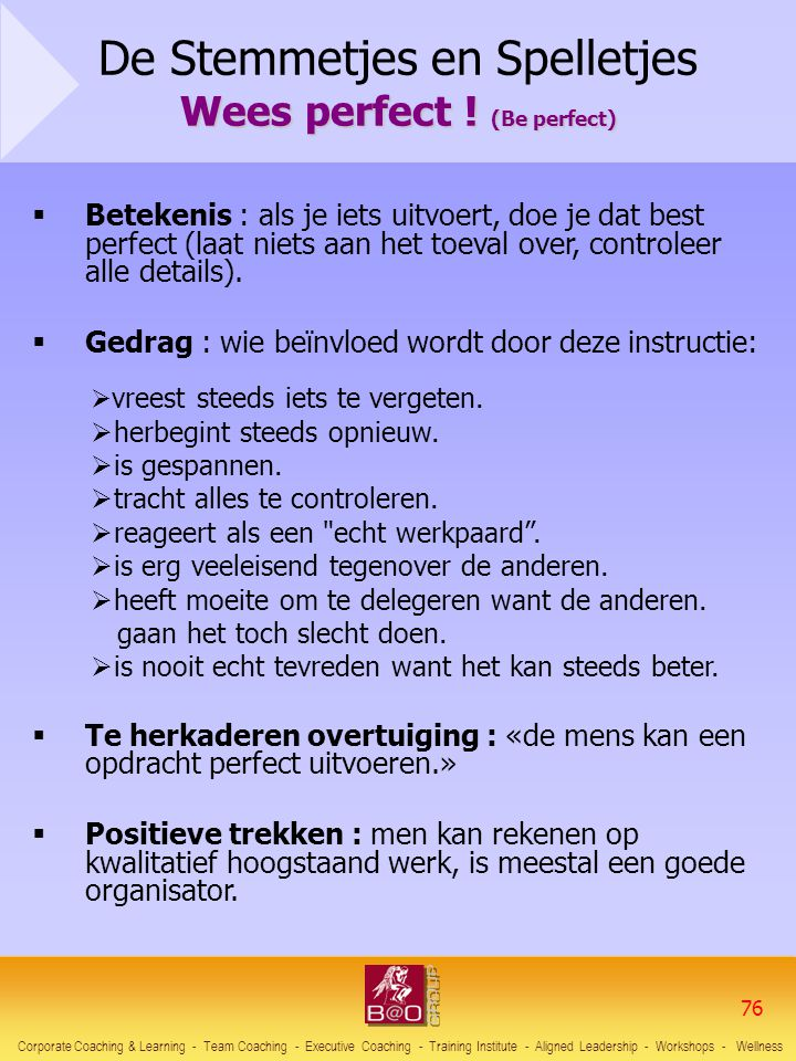 De Stemmetjes en Spelletjes Wees perfect ! (Be perfect)