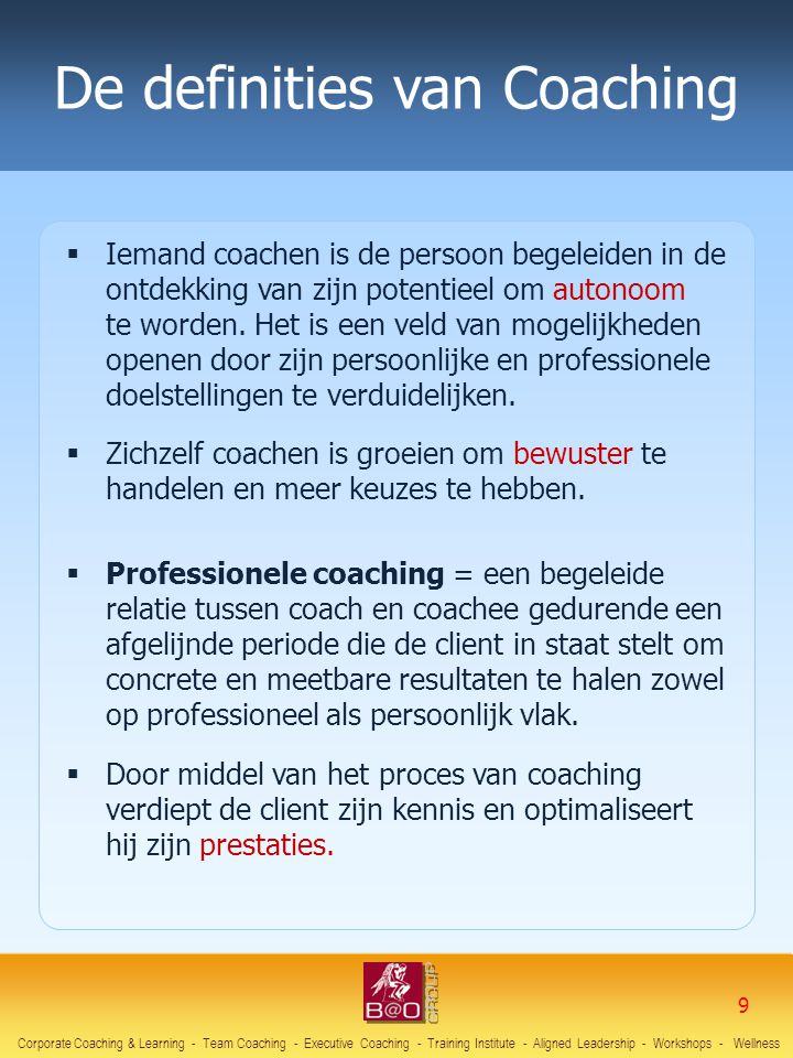 De definities van Coaching