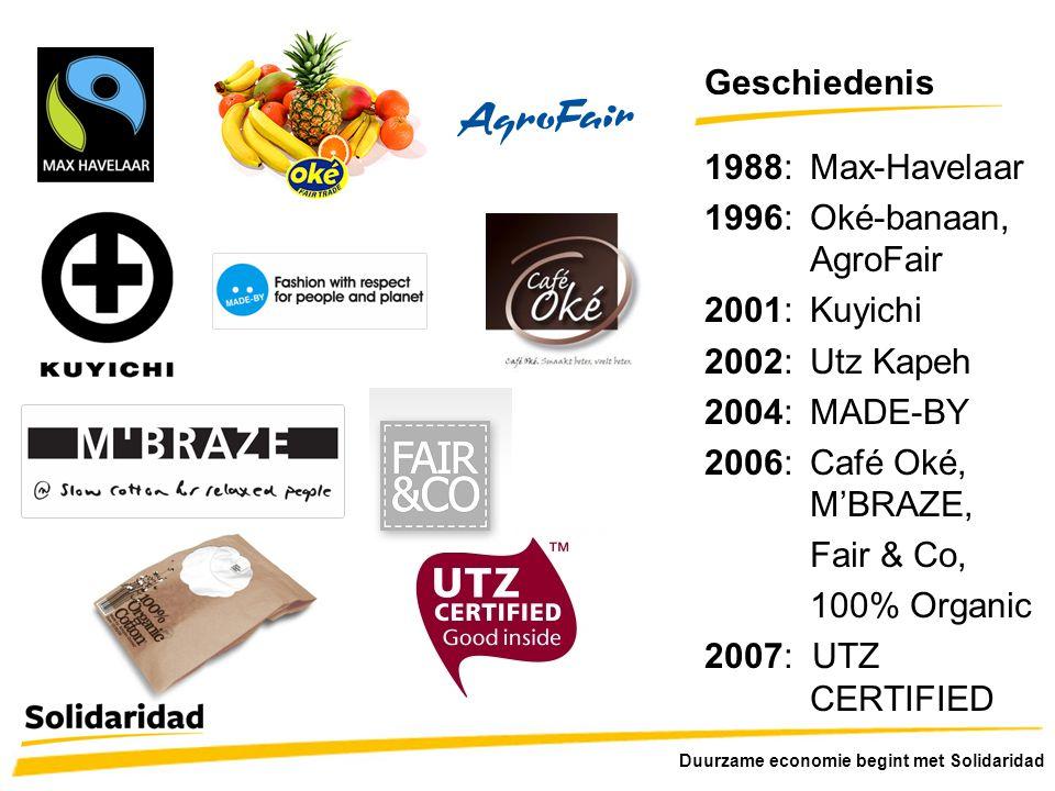 Geschiedenis 1988: Max-Havelaar 1996: Oké-banaan, AgroFair
