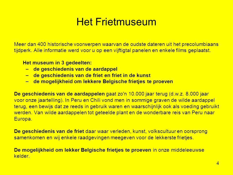 Het Frietmuseum Meer dan 400 historische voorwerpen waarvan de oudste dateren uit het precolumbiaans.
