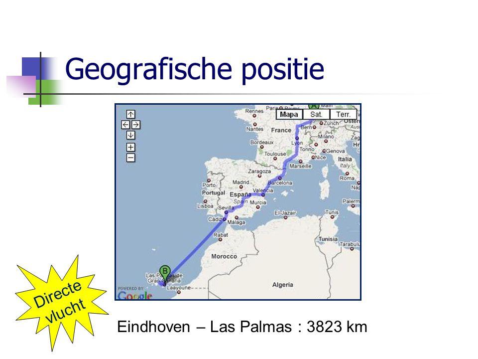 Geografische positie Directe vlucht Eindhoven – Las Palmas : 3823 km