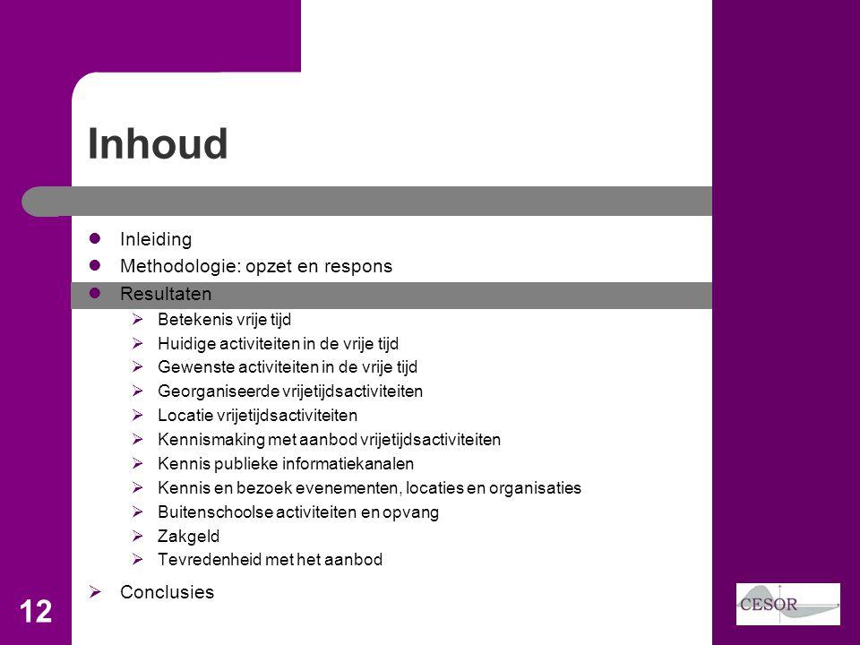 Inhoud 12 Inleiding Methodologie: opzet en respons Resultaten