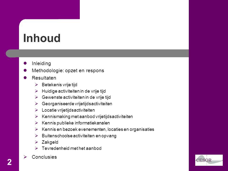 Inhoud Inleiding Methodologie: opzet en respons Resultaten Conclusies