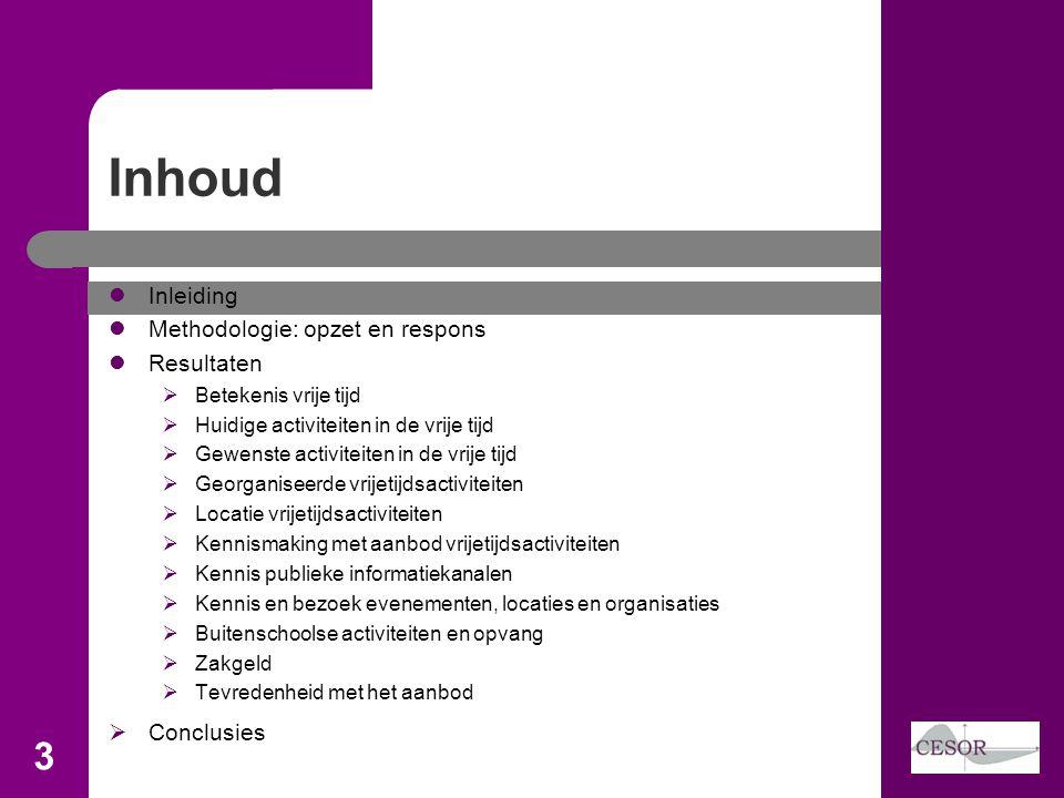 Inhoud 3 Inleiding Methodologie: opzet en respons Resultaten