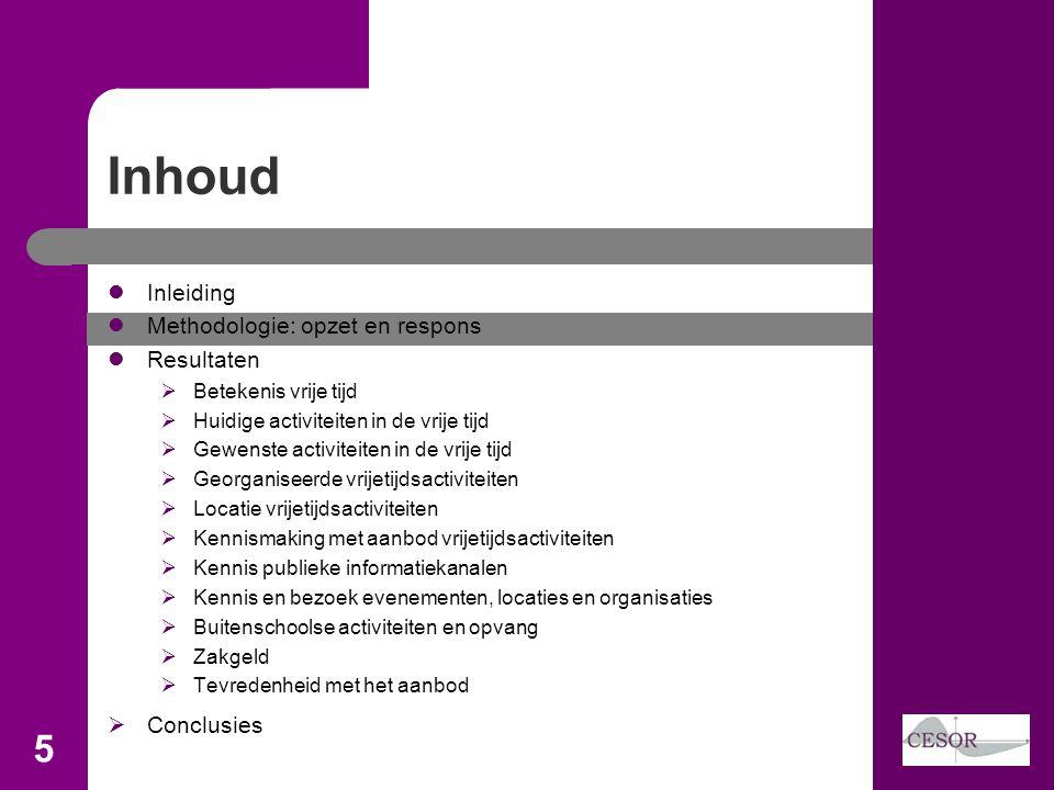 Inhoud 5 Inleiding Methodologie: opzet en respons Resultaten