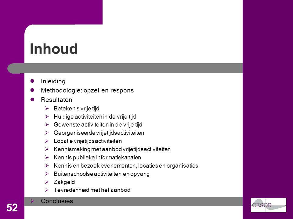 Inhoud 52 Inleiding Methodologie: opzet en respons Resultaten