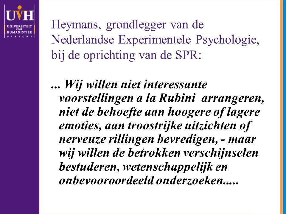 Heymans, grondlegger van de Nederlandse Experimentele Psychologie, bij de oprichting van de SPR: