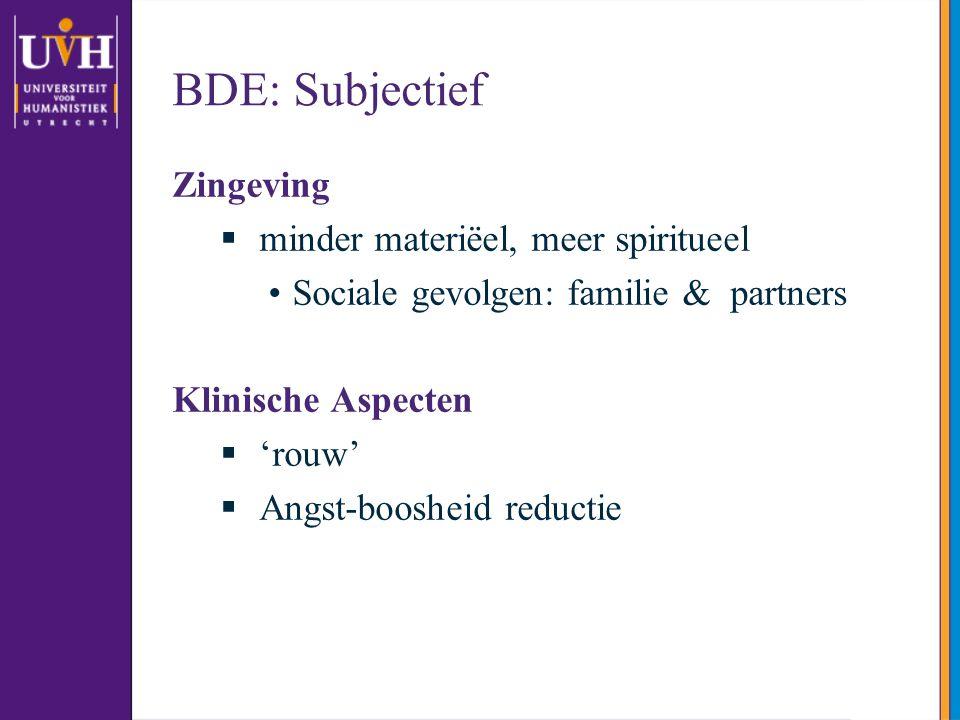 BDE: Subjectief Zingeving minder materiëel, meer spiritueel