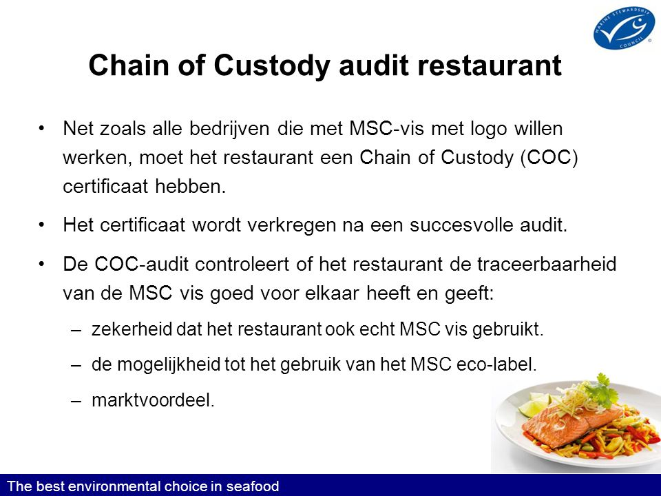 Chain of Custody audit restaurant