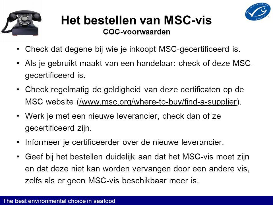 Het bestellen van MSC-vis COC-voorwaarden