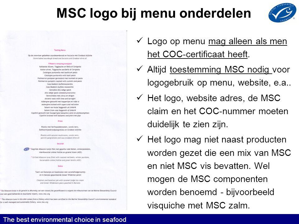 MSC logo bij menu onderdelen
