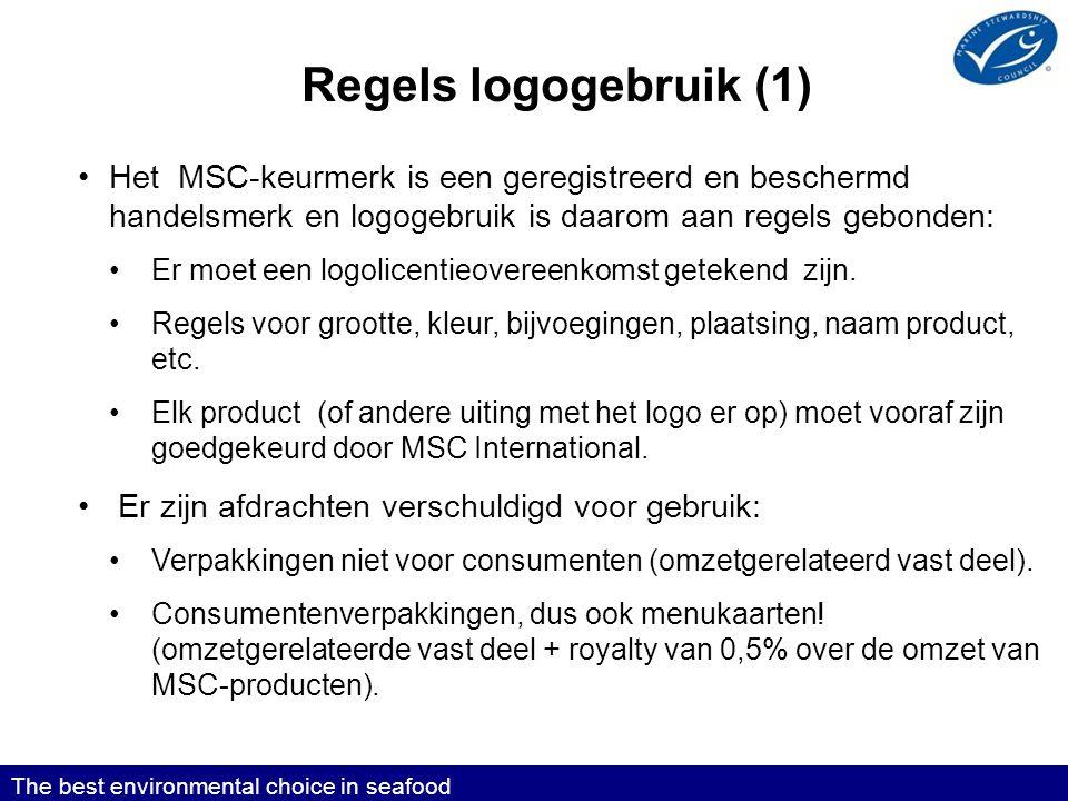 Regels logogebruik (1) Het MSC-keurmerk is een geregistreerd en beschermd handelsmerk en logogebruik is daarom aan regels gebonden: