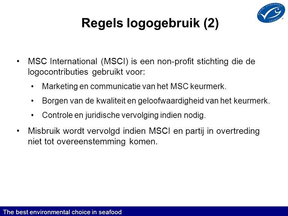 Regels logogebruik (2) MSC International (MSCI) is een non-profit stichting die de logocontributies gebruikt voor: