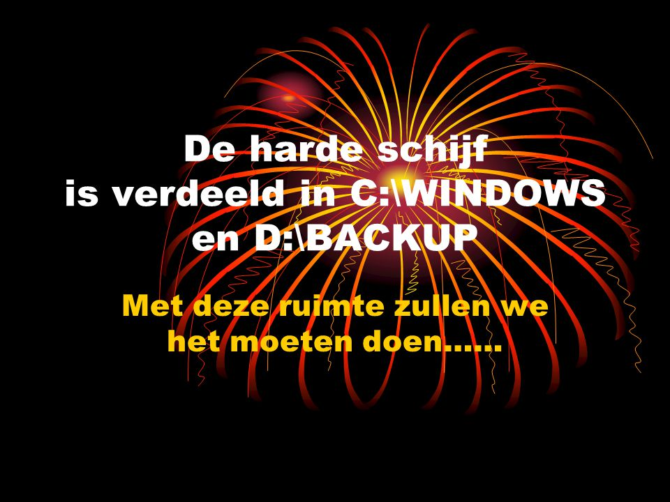 De harde schijf is verdeeld in C:\WINDOWS en D:\BACKUP