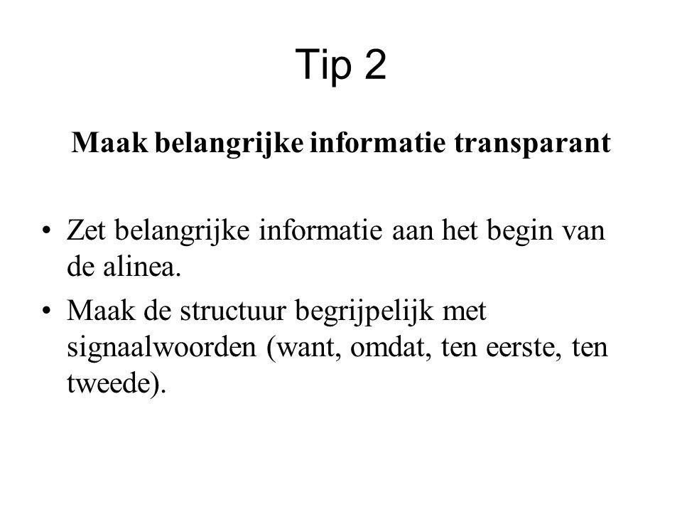 Maak belangrijke informatie transparant