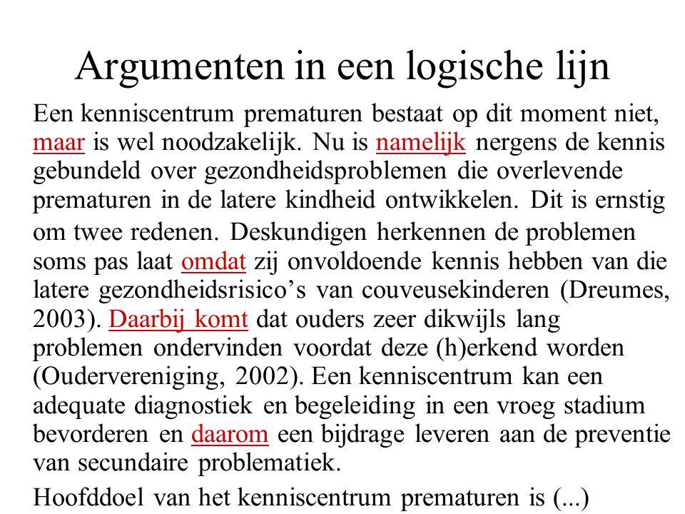Argumenten in een logische lijn