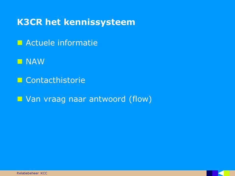 K3CR het kennissysteem Actuele informatie NAW Contacthistorie