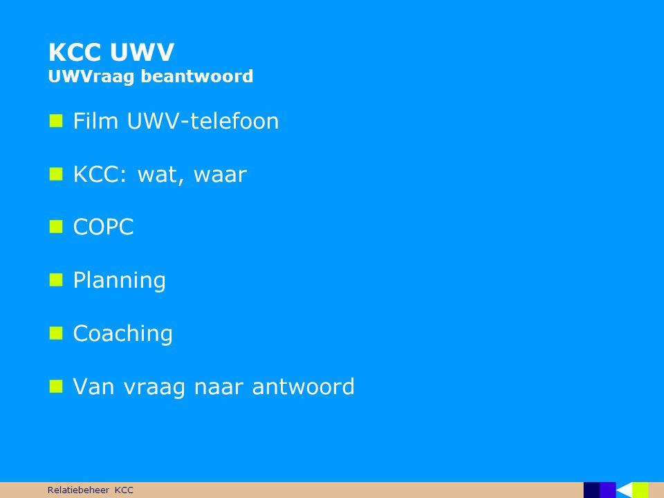 KCC UWV UWVraag beantwoord