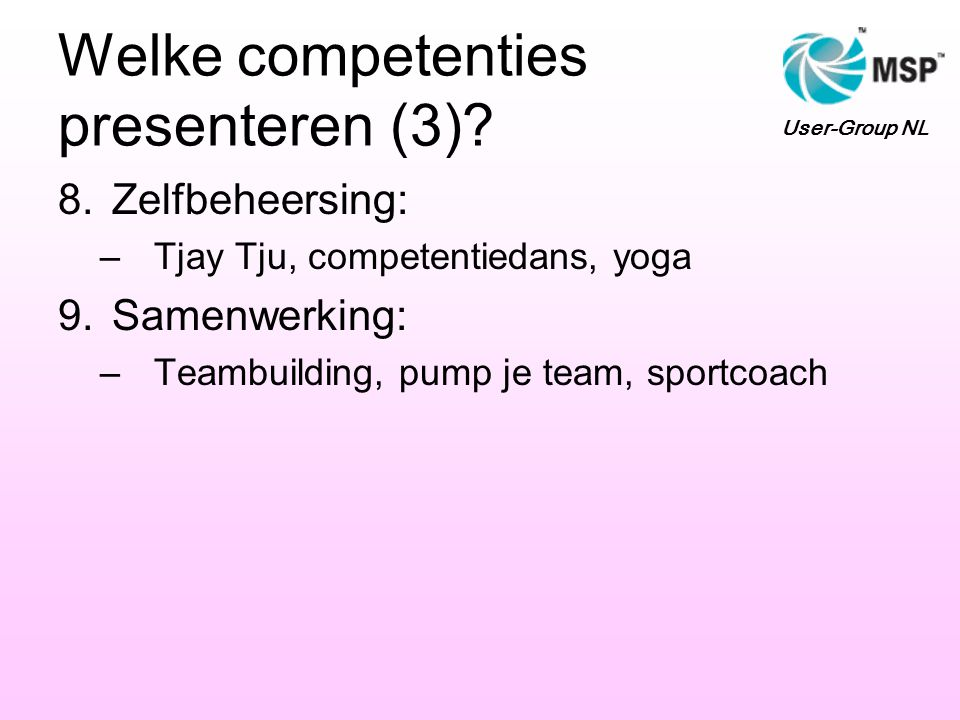 Welke competenties presenteren (3)