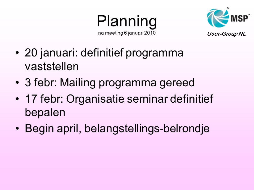 Planning na meeting 6 januari 2010