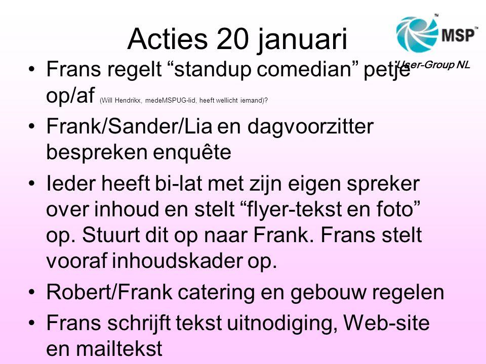 Acties 20 januari Frans regelt standup comedian petje op/af (Will Hendrikx, medeMSPUG-lid, heeft wellicht iemand)