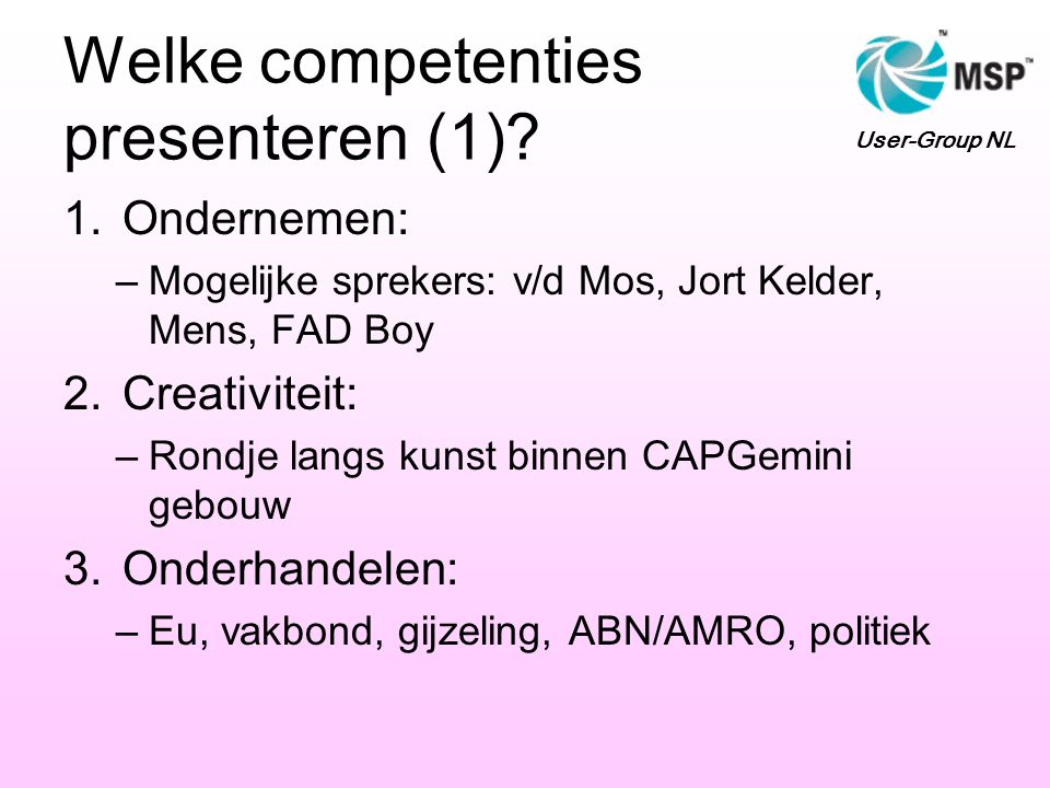 Welke competenties presenteren (1)