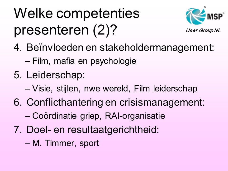 Welke competenties presenteren (2)